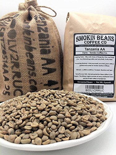 4 LBS- TANZANIA AA IN A BURLAP BAG- Farm: Tembo Coffee, Varietal-Bourbon/Typica, Washed, Notes: Burgundy/Pear/Tangerine - Specialty-Grade Green Unroasted Whole Coffee Beans, for Home Coffee Roasters