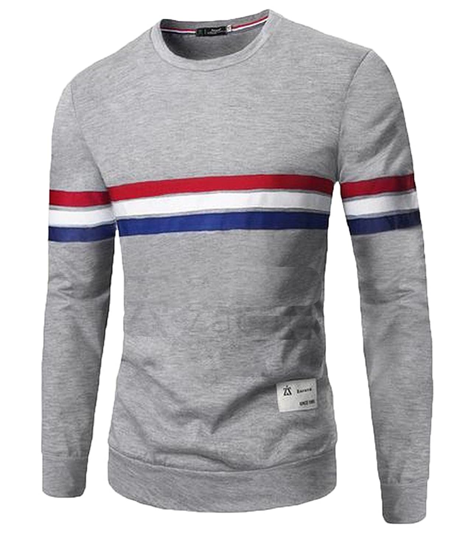 Sheng Xi Men's Round Neck Long Sleeve Striped Pullover T-shirt Blouse