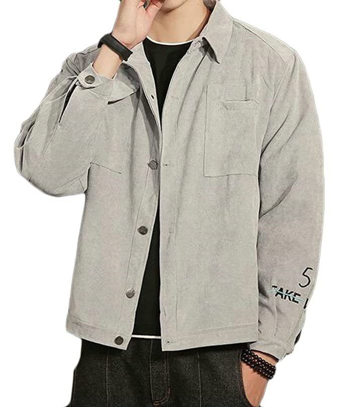 bde6b3f85aab KLJR Men Plus Size Outdoor Single Breast Spread Collar Slim Fit Jacket at  Amazon Men s Clothing store