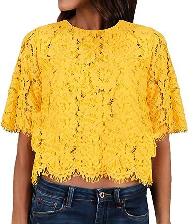 BOLAWOO Tops Mujer Blusas de Encaje Elegantes Manga Corta Cuello Redondo con Flecos Vintage Hippie Moda Casual Tops Cortos Blusa Crop Top: Amazon.es: Ropa y accesorios