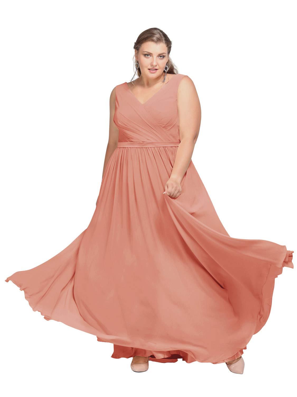 Alicepub V-Neck Plus Size Bridesmaid Dress Chiffon Long Party Prom Evening  Dress Sleeveless, Peach Pink, US30