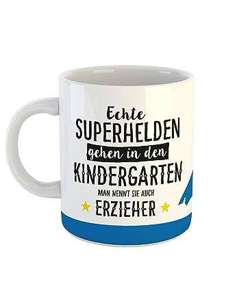 Clothinx Kaffee Tasse Mit Aufdruck Sprüche Echte Superhelden Gehen In Den  Kindergarten Man Nennt Sie
