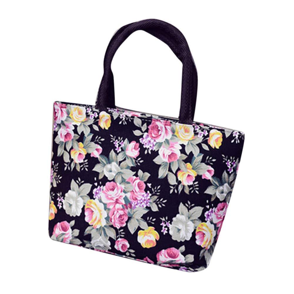Fashion Floral Printed Canvas Shopping Handbag Shoulder Tote Shopper Shoulder Bag Tote for Women Girls (Black)