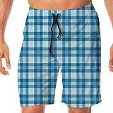 Haixia Mens Casual Boardshorts Checkered Intersecting Stripes Squares Picn