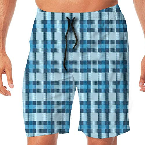 Haixia Mens Casual Boardshorts Checkered Intersecting Stripes Squares Picn by Haixia