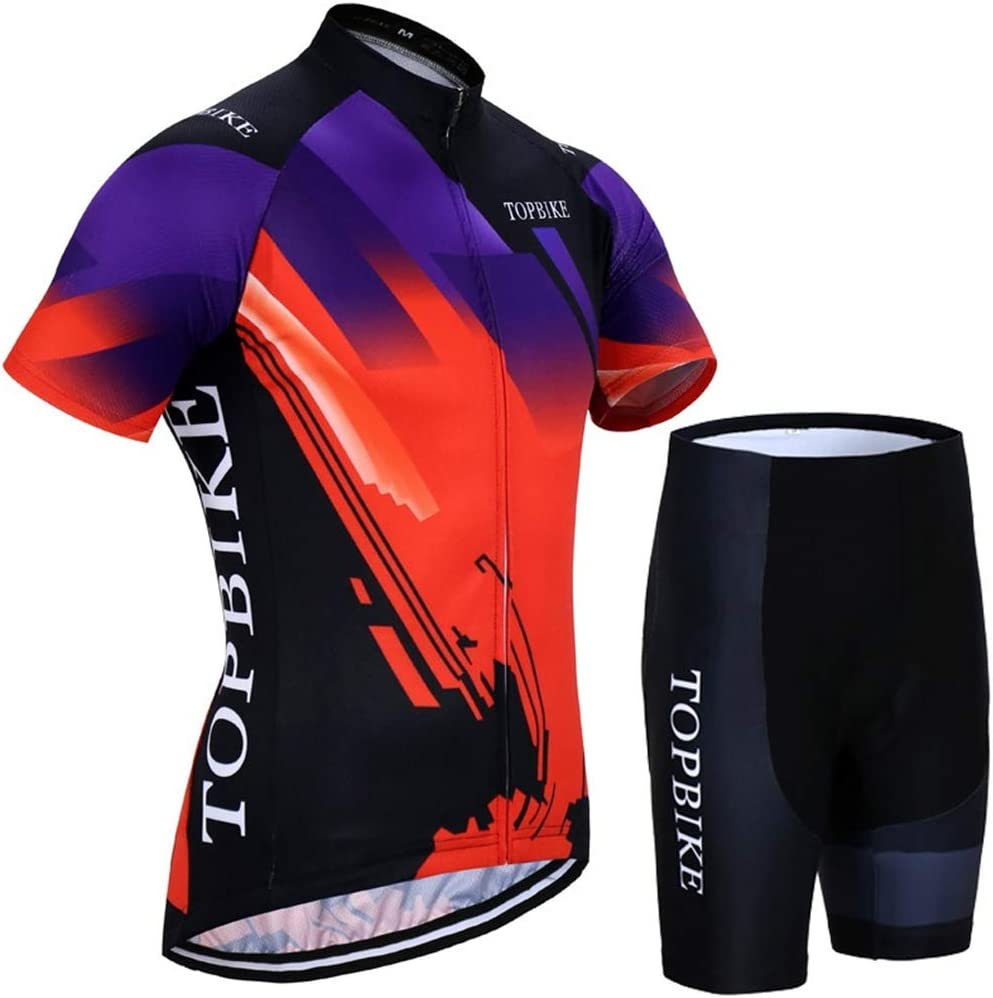 X-Labor Mens Cycling Jersey Set Large Size Short Sleeve Cycling Shorts with 3D Seat Padding