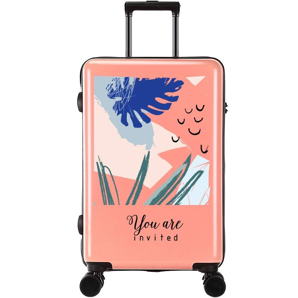 FRF トロリーケース- 学生クリエイティブファッショントロリースーツケース、男性と女性のユニバーサルホイールスーツケース荷物ロックボックス (色 : Pink F, サイズ さいず : 18in)   B07QZG9286