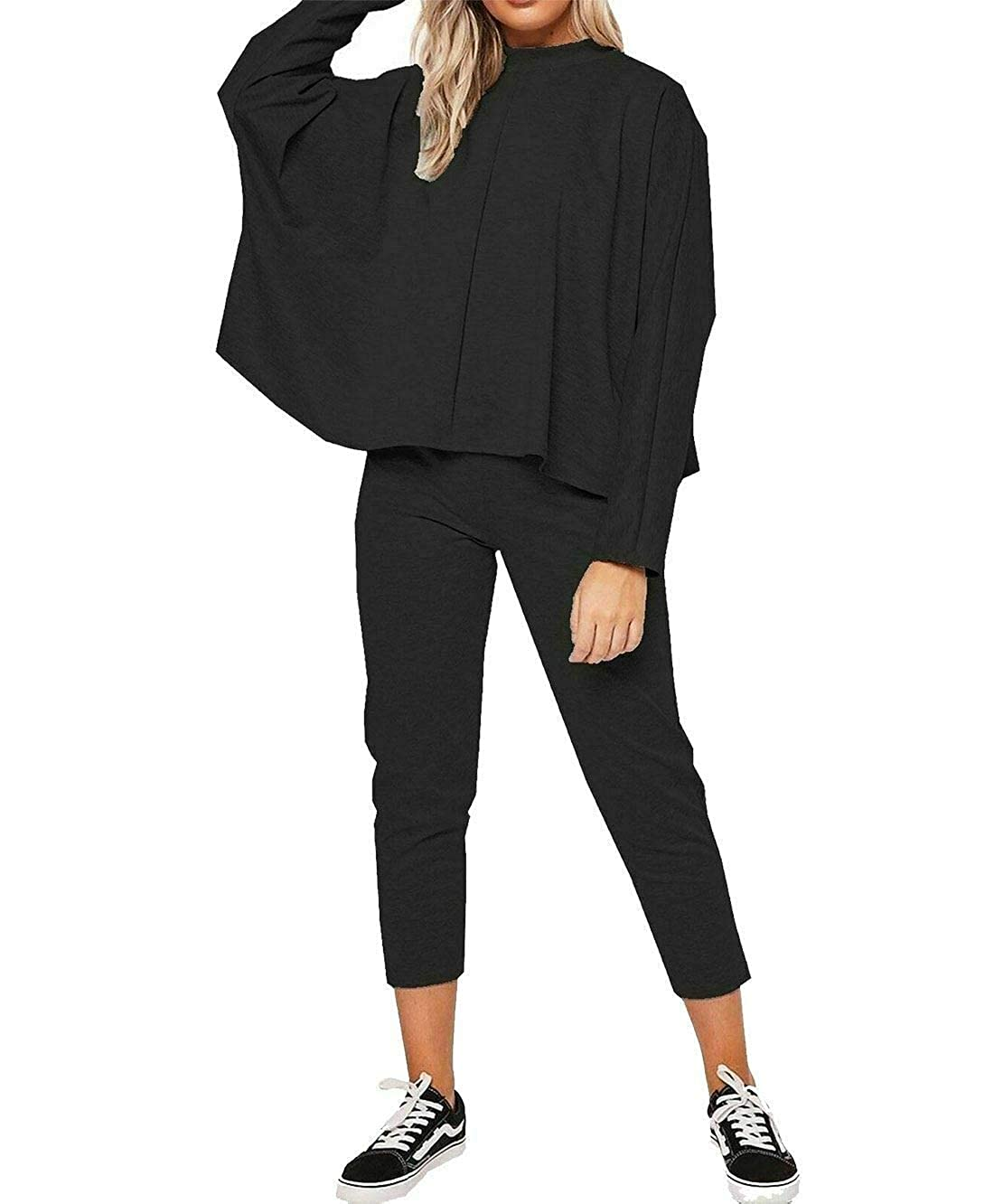 Womens Long Batwing Sleeve Top and Lounge Wear Bottom Set Ladies Jogging Tracksuit