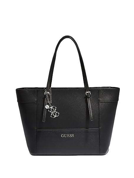 Amazon.com: Guess Delaney Patent bolsa, negro, talla única ...