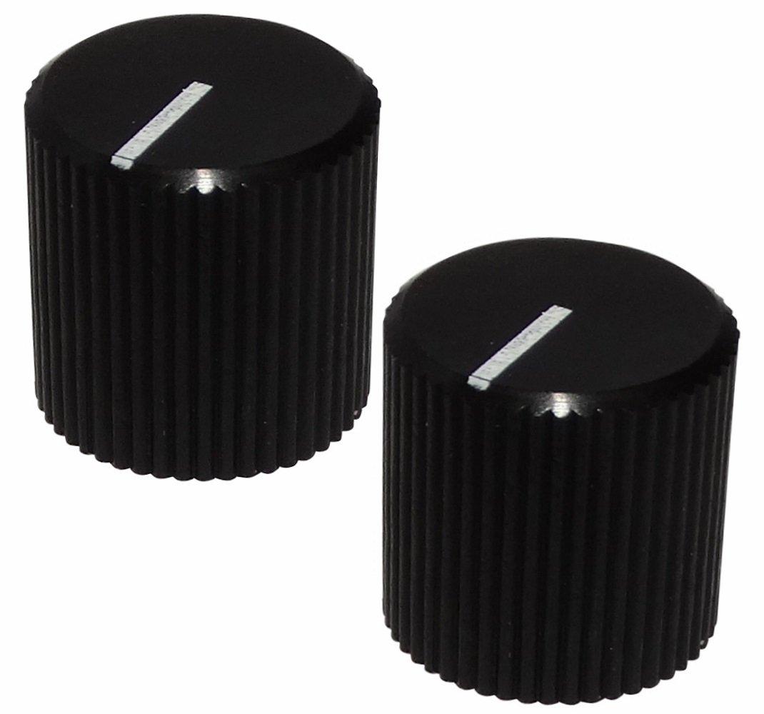 Aerzetix - 2 x Pulsanti di potenziometro per asse liscio 6mm Ø 12 x 12mm nero con indicatore bianco in alluminio SK2-C12473-KU4K34