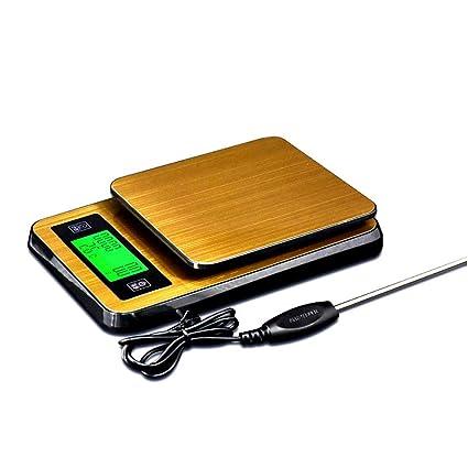 GSJJ Báscula Cocina Digital Temporizador/función de indicación de Temperatura Alta precisión para Cocina de