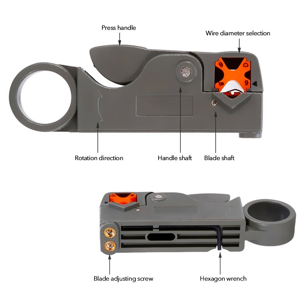 abcGoodefg RG59 RG6 RG11 Coax Compression Crimp Tool Connector Hand Crimper Crimping Tool Waterproof (Blue Tool Set) by abcGoodefg (Image #4)