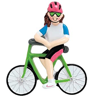 girl riding bicycle christmas tree ornament decoration cyclists bike rider new - Bicycle Christmas Ornament