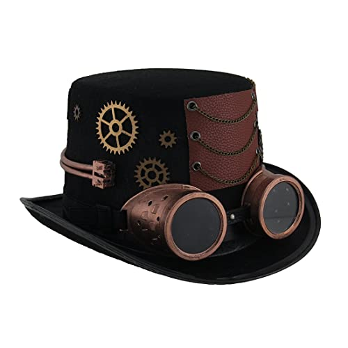 Steampunk top hat with metallic copper gears removable goggles jpg 500x500  Desert steampunk hat 18e9839621b8