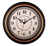 Bien-Zs Silent Non-ticking Round Imitation Wood Golden Wall Clocks 12 Inch Vintage Style Decorative Battery Operated Wall Clock for Home Kitchen,Living Room,Bedroom