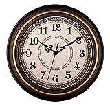 AIOLOC Decorative Vintage Style Wall Clock Silent Non-ticking Round 12 Inch Imitate Wooden Wall Clocks Glodrim