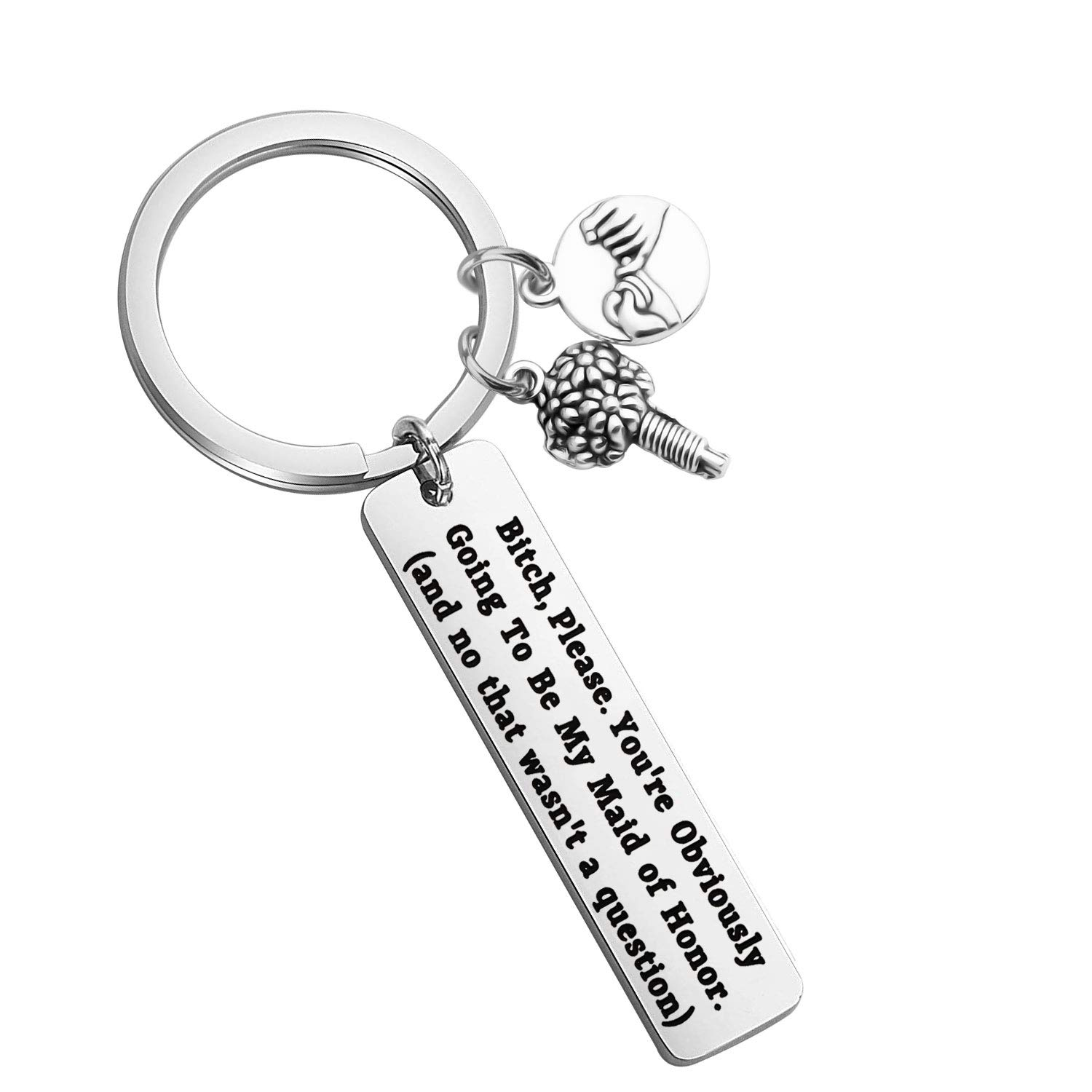 LQRI Maid of Honor Proposal Gift Youre Obviously Going to Be My Maid of Honor Keychain Wedding Gift for Brides Bitches Bride Bridesmaid Jewelry