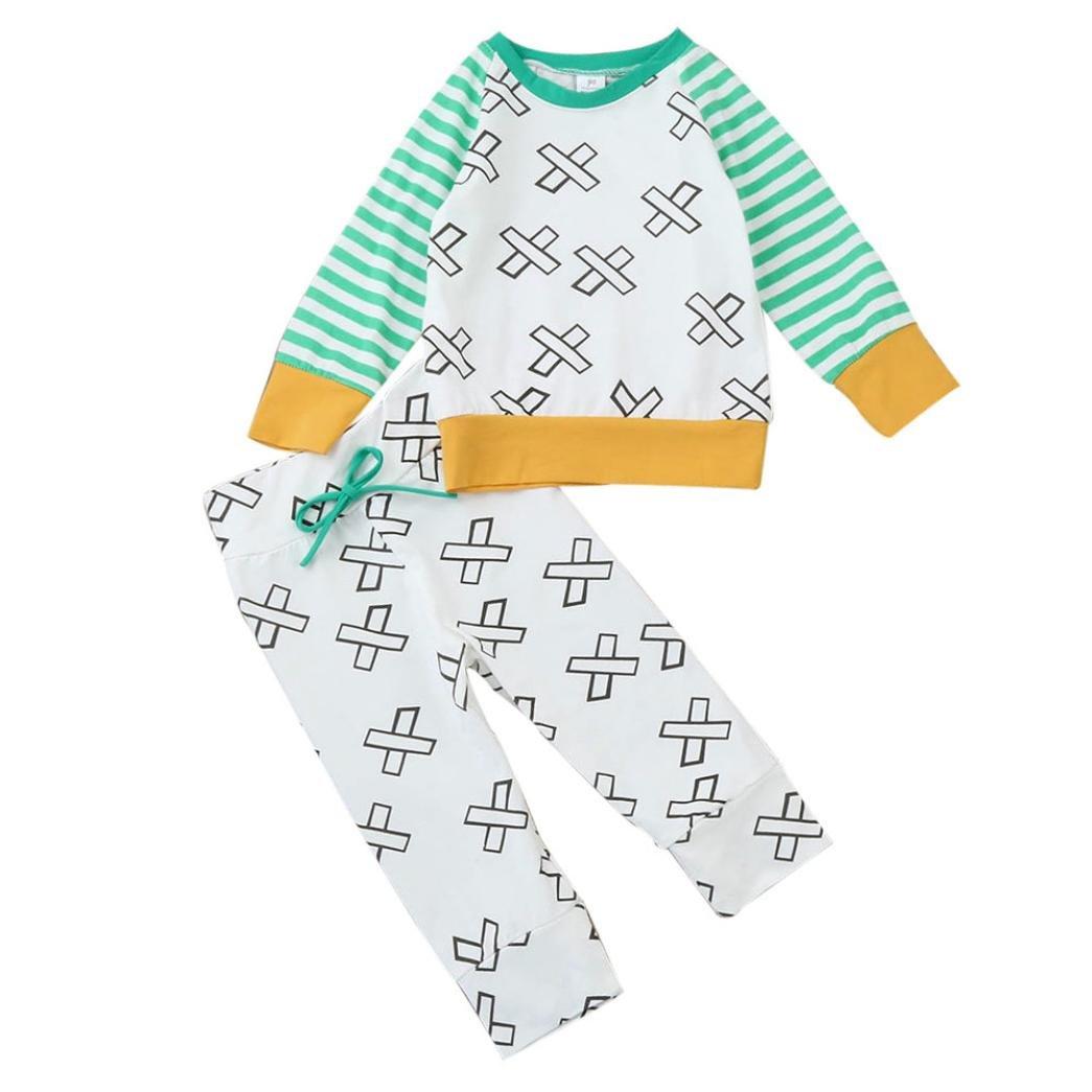 2PCS Bébés Garçons Filles T-shirt Rayé Tops à manches longues Sweat-shirt+Pantalons Longra Ensemble de vêtements pour Nouveau-né
