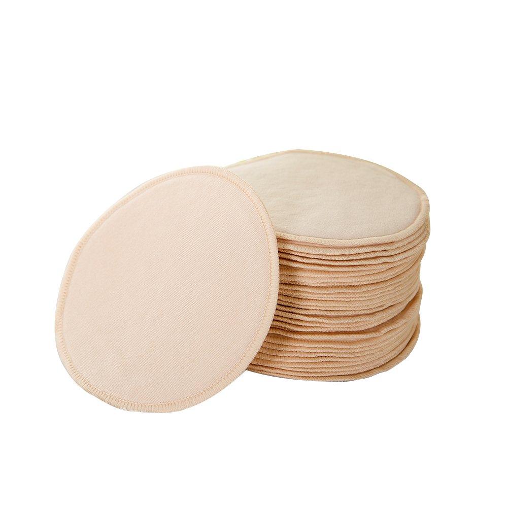 Samber Coussinets d'Allaitement Lavables 20PCS Nursing Pads Réutilisable Imperméable Coussinets Soutien Gorge Anti-Fuites Coton (Blanc)