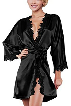 Yacun Womens Long Sleeve Kimono Robes Satin Silk Nightwear Black S