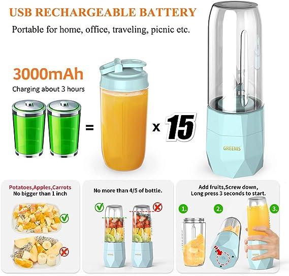 Mini Batidoras de Vaso Libre de BPA Batidora Portátil USB ...