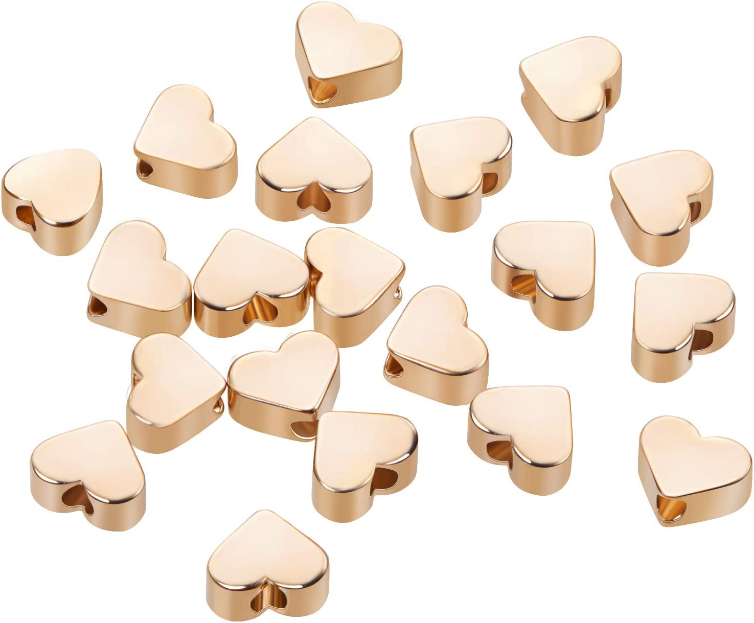 4.5x5x2.5mm Heart Shape BENECREAT 20 PCS 18K Gold Plated Beads Metal Beads for DIY Jewelry Making and Other Craft Work