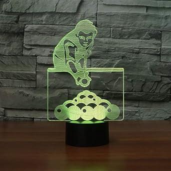 Hysxm 7 Colores Que Cambian El Juego De Billar Hombre Lámpara De Mesa 3D Visual Led Night Lights Para Niños Usb Lámpara Bebé Sueño Iluminación Regalos Decoración: Amazon.es: Iluminación