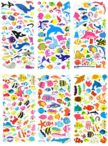 SET020-FISH 6 Sheets Sea World 3D Stickers For Kids - Puffy Dimensional Stickers - (Clownfish, Whale, Dolphins, Cuttlefish, Sharks, Angelfish etc.) Size 3.75 X 7 (Cheshire Cat Halloween Diy)