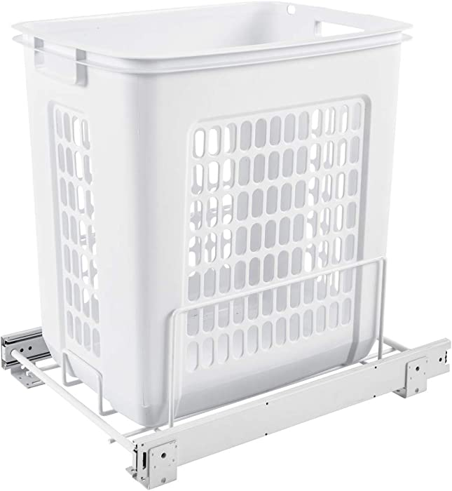 Rev-A-Shelf HPRV-15020 S Large 20-Inch Deep Cabinet Floor Steel Mounted Pullout Polymer Plastic Clothes Laundry Hamper, White