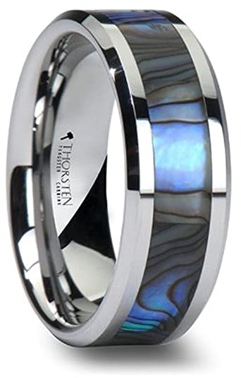 Tungsten Wedding Band With Mother Of Pearl Inlay 8mm Carbide Ring