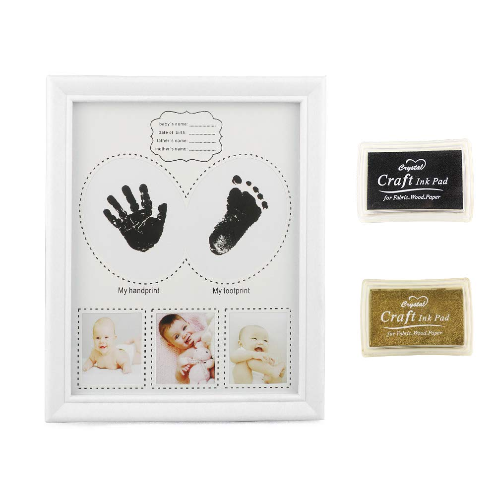 27 cm Baby Handprint and Footprint Photo Frame Kit Newborn Boys and Girls Keepsake Picture Frames Memorable Shower Birthday or Christening Gift for Toddlers Blue 22
