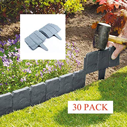 DINGL Lawn Boarder Lawn Fence T Shape ABS Plastic Garden Border Fencing Cobbled Stone Effect Garden Lawn Edging (30 ()