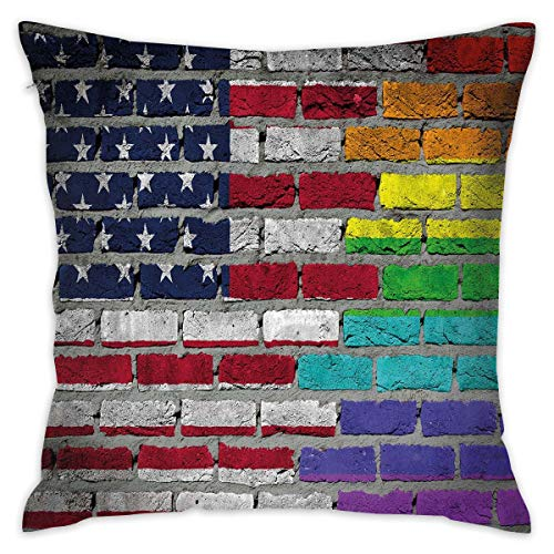 Uanlic Decorative Throw Pillows Covers with Insert,Grunge Dark Brick Wall with American and Rainbow Flag Painted Together,18x18 Inches Square Patio Cushions for Couch Bed Sofa Patio Furniture (Furniture Brick Nj)