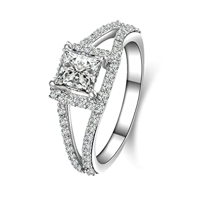 (compromiso anillos) Adisaer plateado anillos para las mujeres boda bandas cuadrado circonitas cúbicas: Amazon.es: Joyería