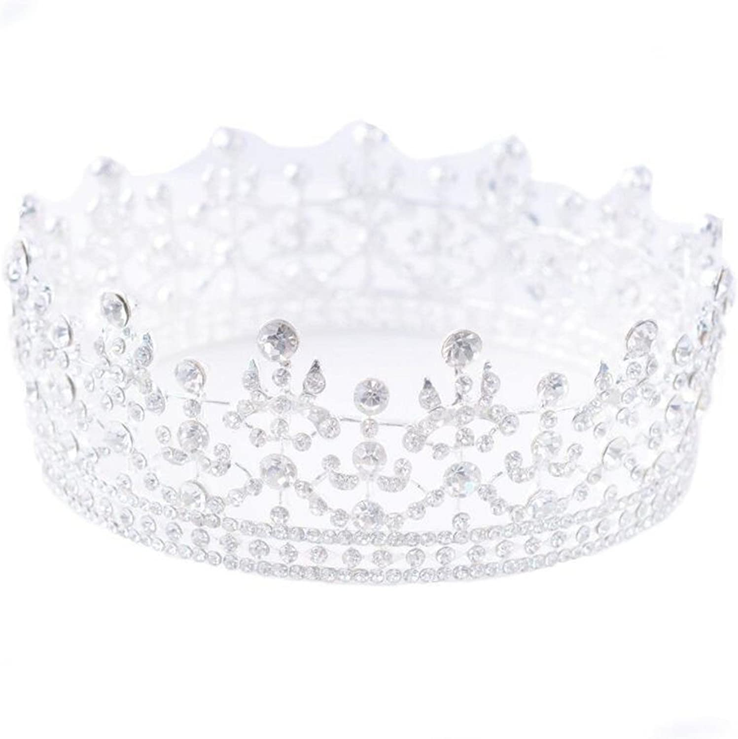 Full Crystal King Wedding Bride Party Pageant Prom Tiara Round Crown Gold//Silver