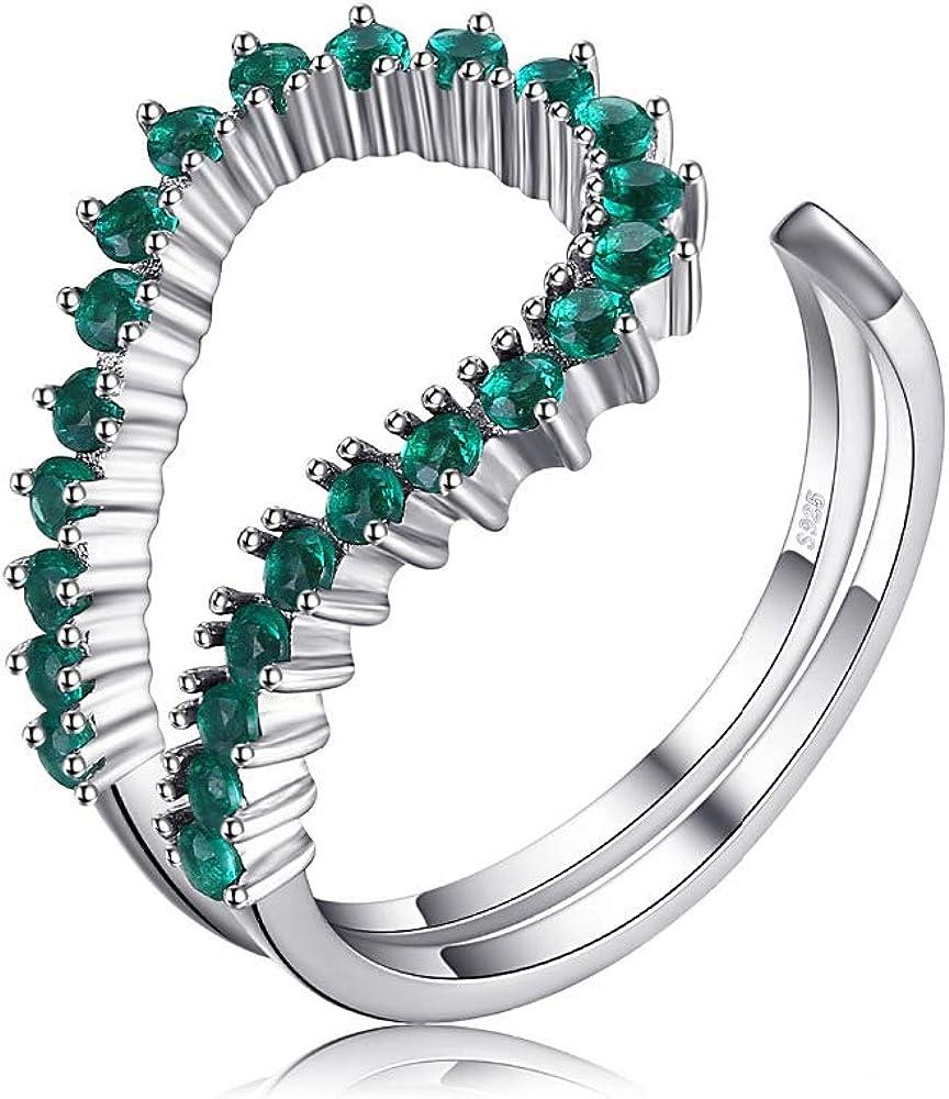 Anillo Ajustable de Plata de Ley 925 con 24 Esmeraldas Preciosas Verdes