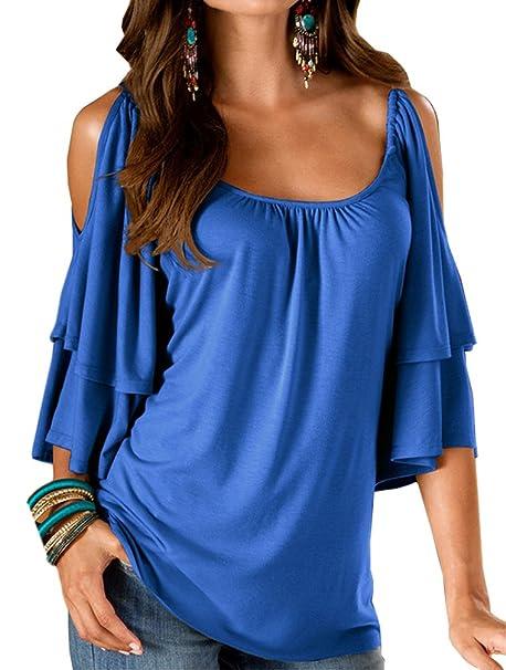 ... Hombros Descubiertos Volantes Basicas Color Solido Slim Fit Elegantes Vintage Fashion Casual Vestir Verano T Shirts T-Shirt Blusas: Amazon.es: Ropa y ...