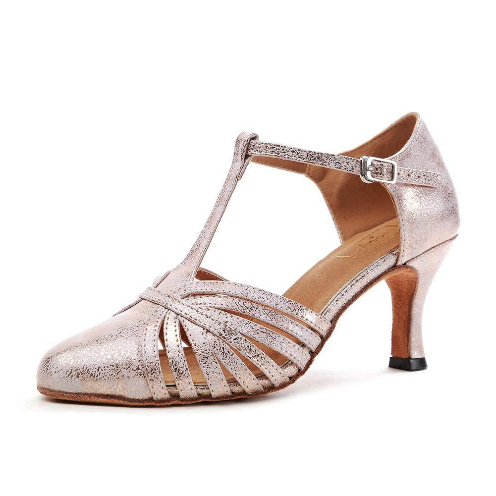 Damen Geschlossen Zehen High Heel PU Leder Glitzer Salsa Tango Tango Tango Ballsaal Latin t-Strap Dance Schuhe 369cca