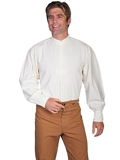 Men's Steampunk Clothing, Costumes, Fashion Pleated Front Puffed Sleeve Shirt  AT vintagedancer.com