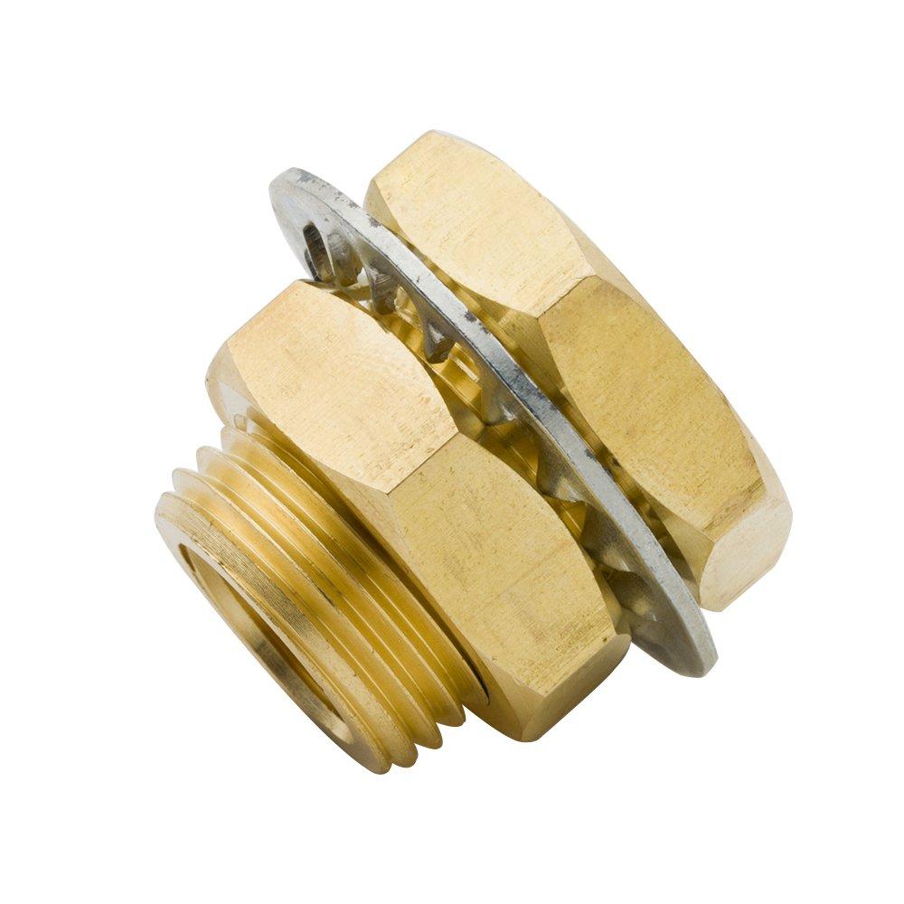 Legines Brass Pipe Fitting, Bulkhead Coupling, Bulkhead Tank Fitting, Frame Nipple, 1/4'' NPT Female, 1/2'' NPT Male, 15/16'' Length (Pack of 2)