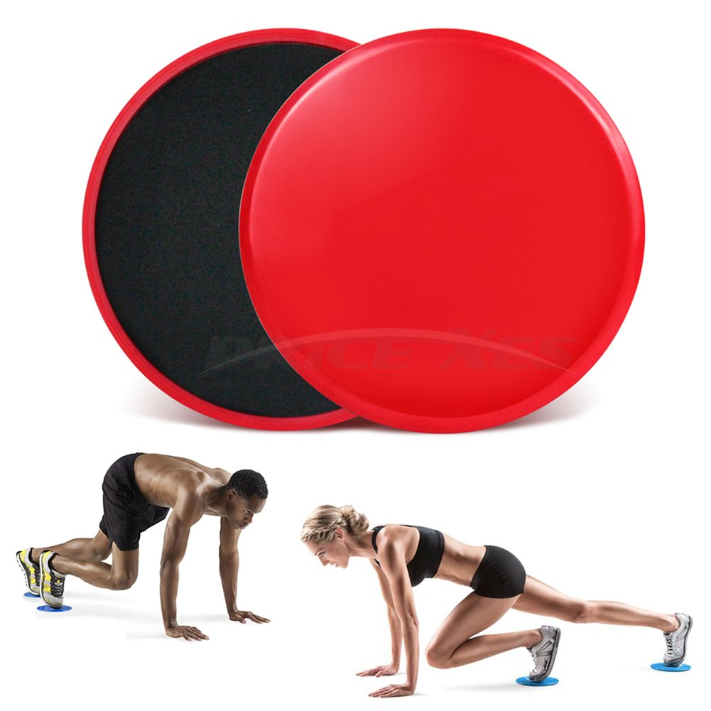 2 x Dual Sided Gliding Discs Exercise Sliders Core Sliders Fitness Ultimate Trainer Gym Home Abdominal & Total Full Body Workout Equipment on ALL surfaces Slide & Glide Exercises (Red, Circle)