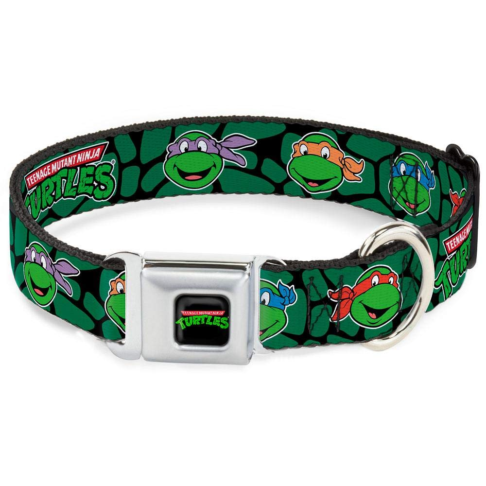 "Buckle-Down Seatbelt Buckle Dog Collar - Classic TMNT Turtle Faces Black/Green Turtle Shell - 1"" Wide - Fits 11-17"" Neck - Medium"