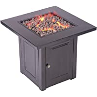 FDW Propane Fire Pit Patio Heater Antique Hammered Bronze Finish Outdoor Gas Table