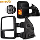 Scitoo Towing Mirrors, for Ford Exterior Accessories Mirrors for Ford F250 F350 F450 F550 Super Duty 2003-2007 with Turn Signal Power Controlling Heated Convex Glass Manual Folding and Telescoping