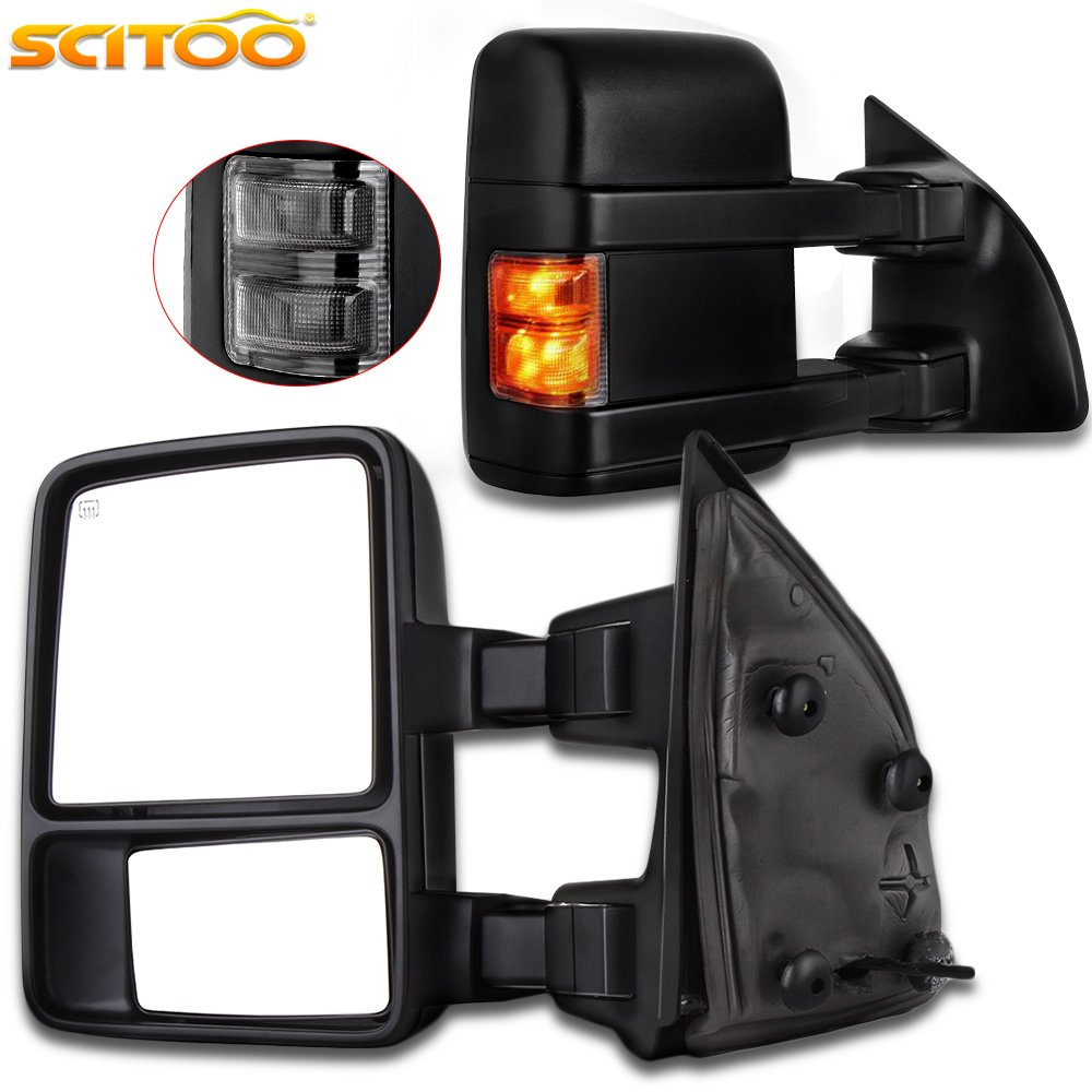 Scitoo Power Heated Led Smoke Signal Towing Mirrors For Lighted Tow Mirror Wiring Diagram 03 07 Ford F250 F350 F450 F550 Super Duty Side View Pair Set Automotive