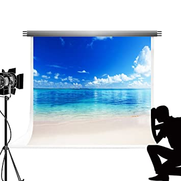 amazon kate 7x5ft 2 2x1 5m 海のビーチを背景に白い雲をテーマに