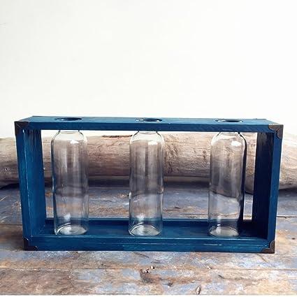 Jarrón Combinación de madera marco Jarrón de cristal Tres botellas falso Flores