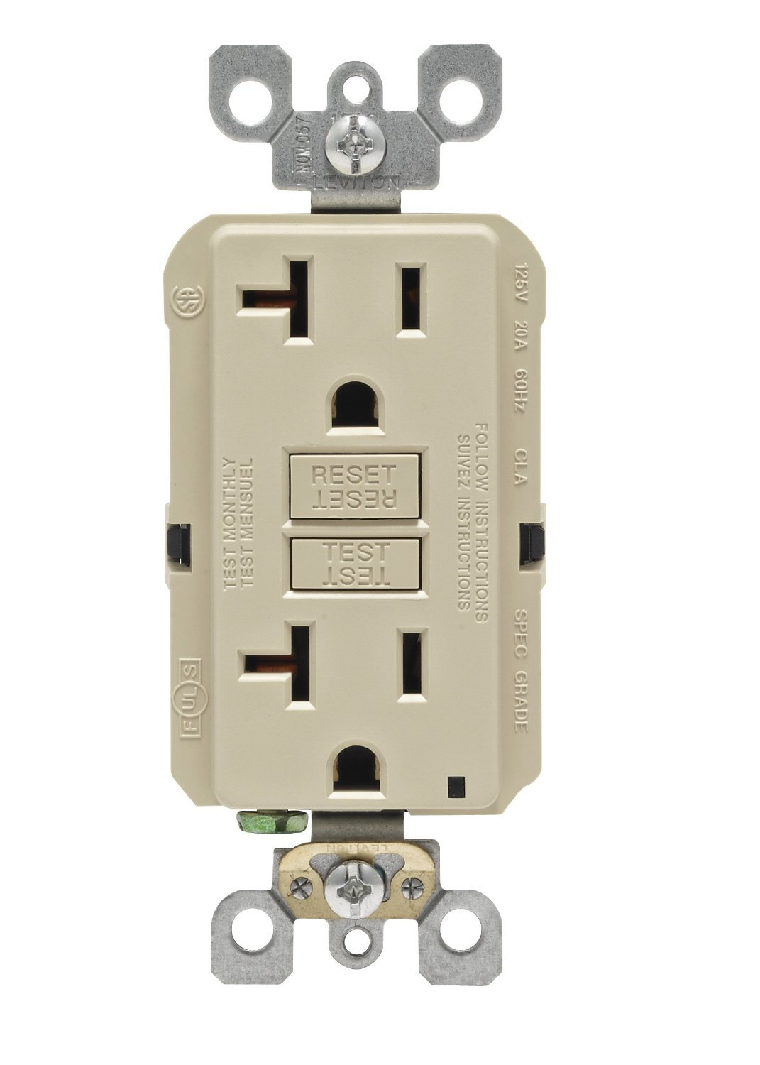 61jfg5T%2B LL._SL1500_ leviton gfnt1 w self test smartlockpro slim gfci non tamper GFCI Breaker Wiring Diagram at crackthecode.co