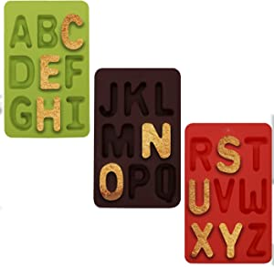 Meiyouju 3 Pieces 9 Holes letter Shaped Silicone Mold,Food Grade Silicone Cake Molds ,Candy, Icing, Biscuit Decor, Chocolate, Polymer Clay, Resin Mold, Epoxy