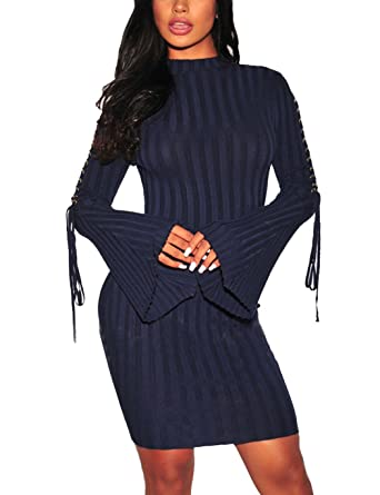 2850aef18793 Womens Long Bell Bandage Sleeve Elasticity Pullover Bodycon Midi Sweater  Dress